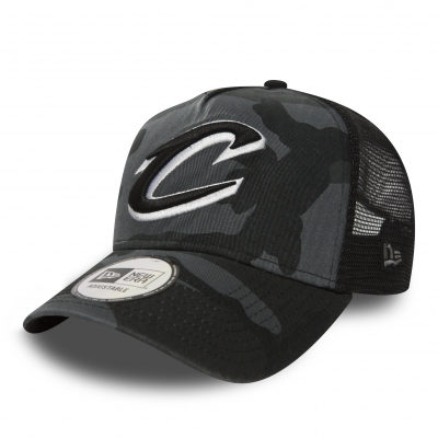 9FORTY NBA A-FRAME TRUCKER WASHED CAMO CLEVELAND CAVALIERS